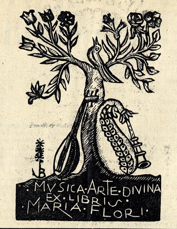 """Ex libris """"Musica arte divina"""", xilografia di Bruno da Osimo"""