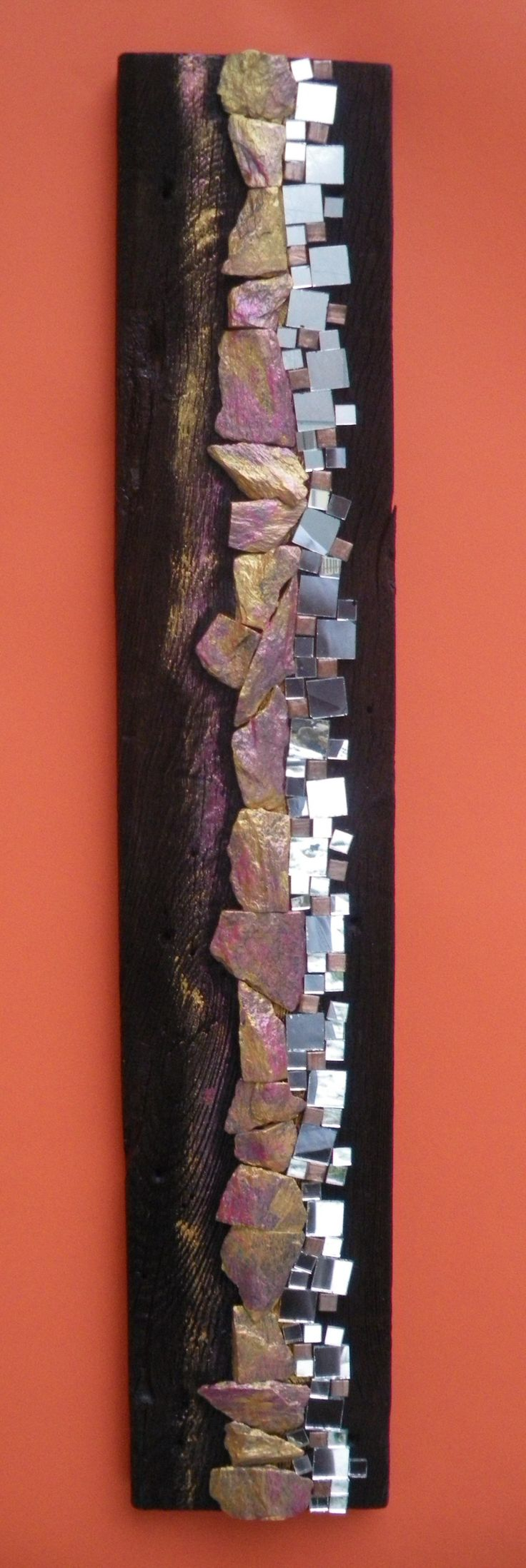 mosaic on wood. Abstract. Shimmers