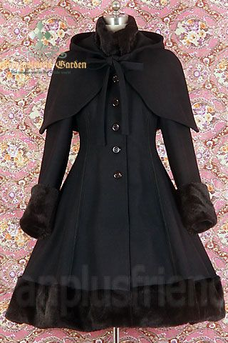 Classic Gothic Lolita: Heavy Wool & Fur Coat with Hood Cape. I MUST have this. MUST.