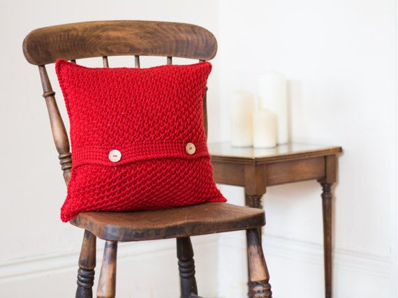 Red Cushion Cover, Accent Throw Pillow Cover, Red Textured Cushion, Bright Crochet Cushion, New Home Gift, Colourful Button Envelope Pillow