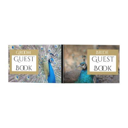 Male Female Peacock Birds Bride Groom Guest Book - guest gifts gift idea diy personalize