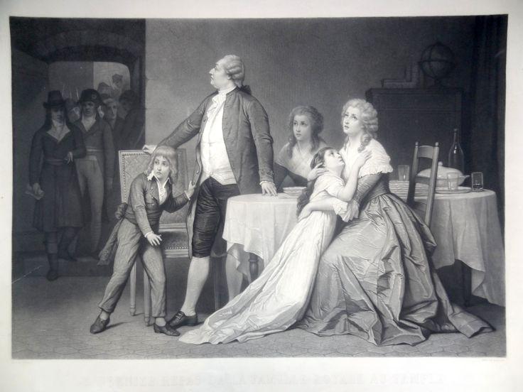 """""""Le dernier repas de la Famille Royale au Temple - Le roi Louis XVI fut séparé violemment des siens; ils ne devait les revoir que la veille de son exécution."""" - gravé par Manigaud d'après Hamman"""