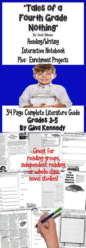 "No-Prep novel study for ""Tales of a Fourth Grade Nothing"", a standards based interactive notebook literature guide with follow-up reading response questions for every chapter as well as vocabulary, writing projects, activities and enrichment projects. Teacher friendly engaging lessons to use with this award winning novel by Judy Blume in your classroom while encouraging critical reading skills.  Everything you need to use this novel in your classroom effectively is included with this…"