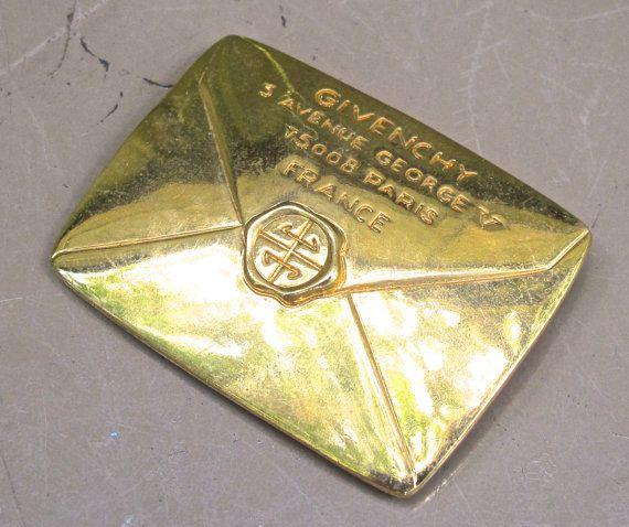 vintage Givenchy brooch  1960s70s LARGE envelope by mkmack on Etsy, $84.00