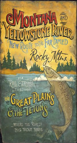 Montana Yellowstone River campy and lodge look sign