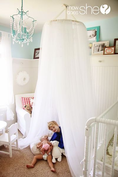 Easy home decor. Make Your OWN Dreamy Canopy Tent! It only takes 3 items and less than 30 minutes!  Perfect for your little girl's bedroom. | How Does She...