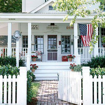 American farmhouse with flag