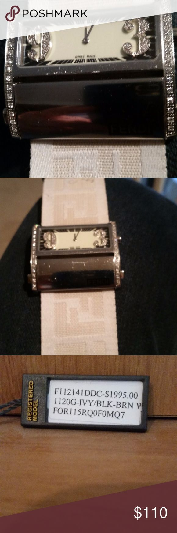 Fendi ladies quartz watch with genuine diamonds Beautiful Fendi ladies dress watch with genuine diamonds on side of case and on numerals 9 and 3. Original box, price tag ($1995) and manual. Watch is battery -powered but does not work. Fendi Jewelry