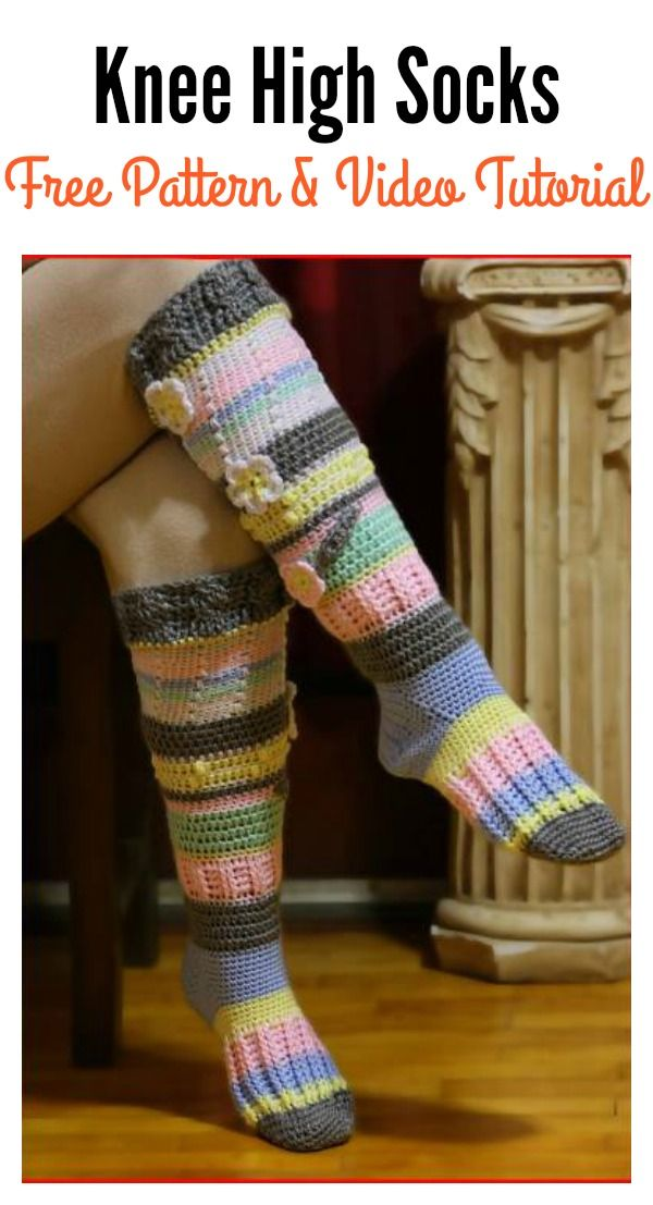 Knee High Socks Free Crochet Pattern & Video Tutorial