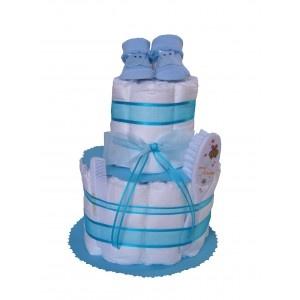 Nouveauté Gâteaux de Couches sur Mybbshowershop.com avec des chaussons bébé, peigne et brosse, jolis rubans. Création Mybbshowershop.com pour une baby shower ou un cadeau naissance original