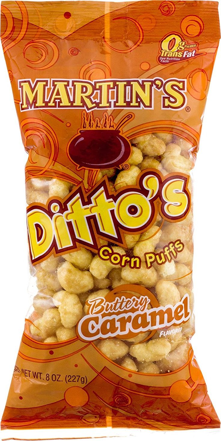 Martins Dittos Buttery Caramel Flavored Corn Puffs - 8 Oz. (4 Bags) -- More info could be found at the image url.