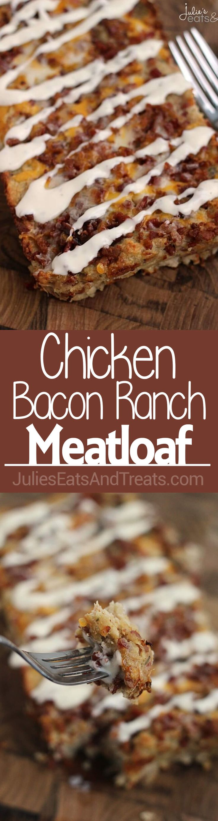 Chicken Bacon Ranch Meatloaf ~ Delicious, Easy, Comfort Food! Loaded with Chicken, Bacon, Cheese and Ranch! ~ http://www.julieseatsandtreats.com