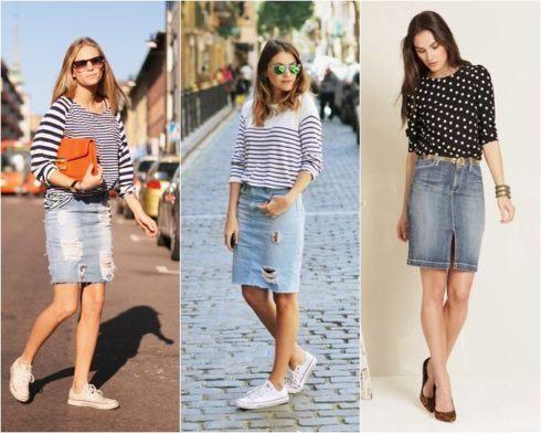 looks saia jeans com tenis e blusinhas listradas