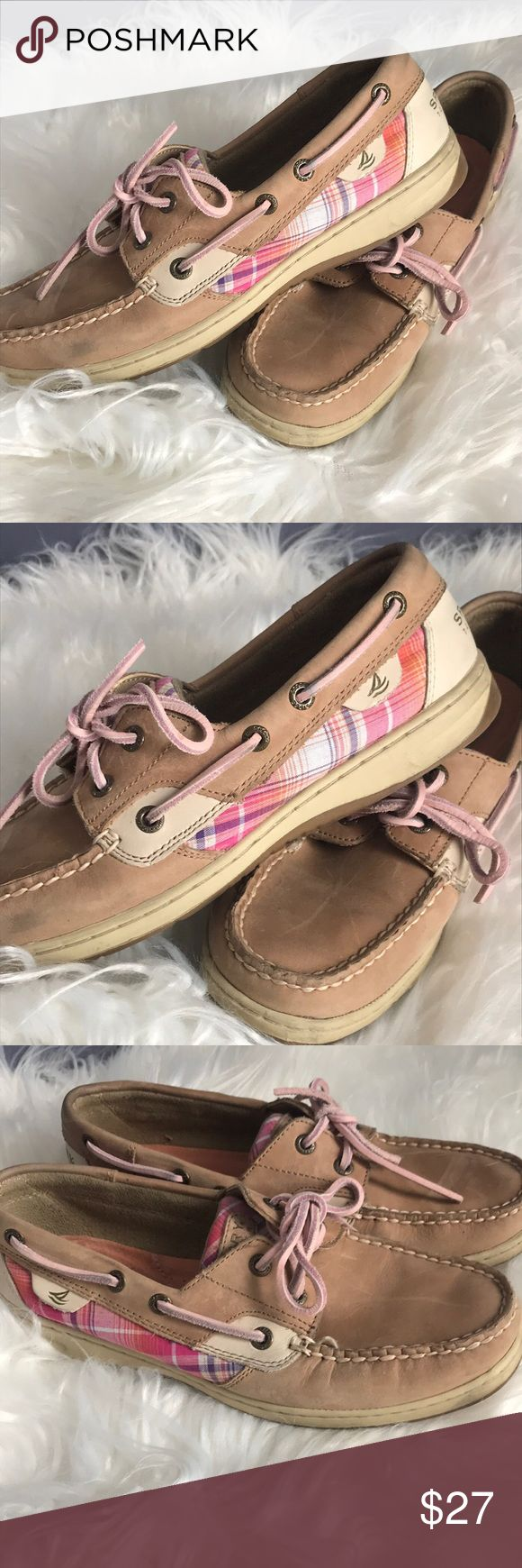 Sperry Topsider pink plaid 7.5 Great condition Sperry Topsider in pink plaid with pink leather laces. Non marking sole. Minimal wear, light color transfer on one shoe, see pics. Size 7.5 Sperry Top-Sider Shoes Flats & Loafers #watches #watch #USA