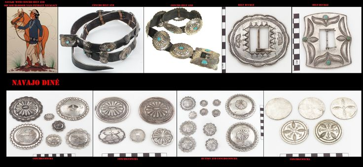"""Con l'argento, gli artigiani Navajo, producono molti e particolari ornamenti come queste fibbie e conchas sorta di grosse borchie per decorare le cinture. Se lo stile è quello ispano-moresco, il simbolismo che si cela dietro questi ornamenti scaturisce dalla mitologia indigena. I Navajo hanno iniziato a lavorare l'argento solo nel 19° sec. Delgadito o """"Old Smith,"""" (c. 1828-1918) potrebbe essere stato il primo Navajo ad aver imparato il mestiere da un argentiere messicano intorno al 1853"""