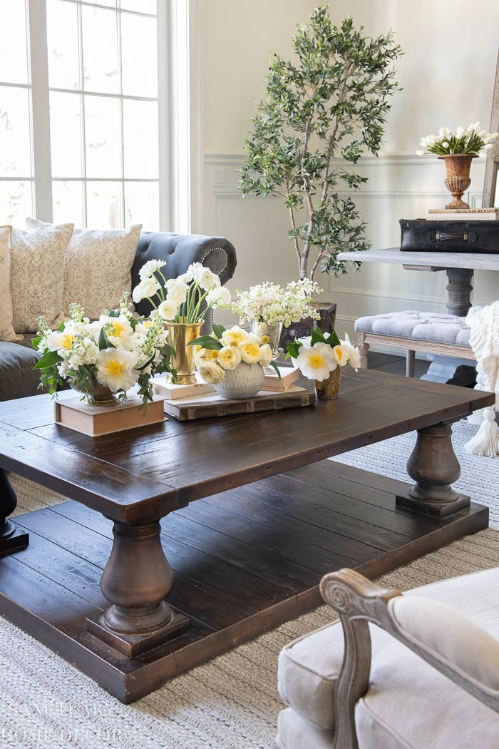 How To Make A Flower Arrangement Vignette Sanctuary Home Decor In 2020 Spring Living Room Decor Spring Living Room Flower Arrangements