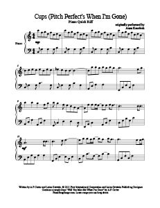 Cups (Pitch Perfect's When I'm Gone) - Anna Kendrick. Find tons of free sheet music at www.PianoBragSongs.com. #piano #sheetmusic