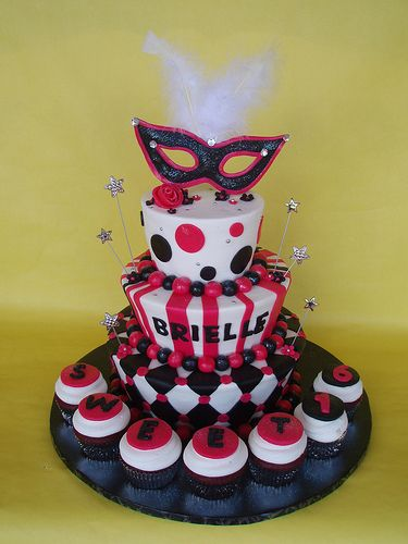 sweet 16 cakes for birthday parties | Masquerade Themed Sweet 16 Birthday Cake