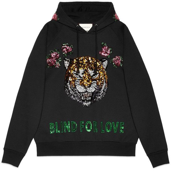 Gucci Embroidered Hooded Sweatshirt found on Polyvore featuring tops, hoodies, sweatshirts, sweaters, shirts, ready to wear, sweatshirts & t-shirts, women, gucci hoodie and sequin shirt