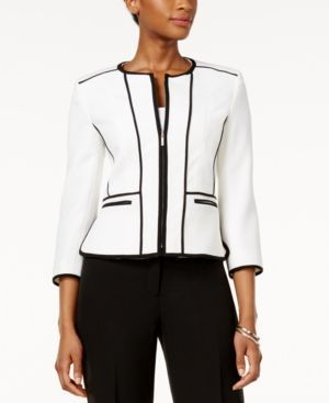 Kasper Petite Zip-Up Piped Blazer - White 16P