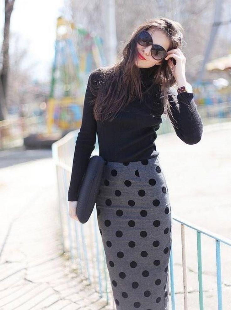 Как носить юбку солнце с кофтой