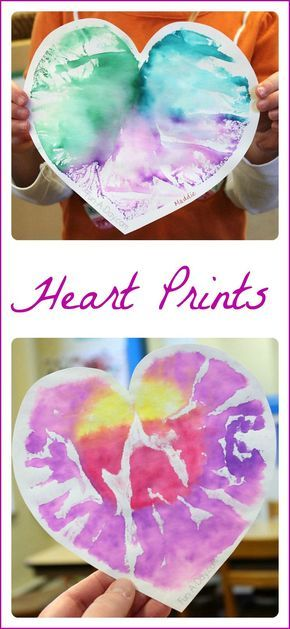 Heart Prints - a process-based valentine art project for preschoolers that yields a beautiful result