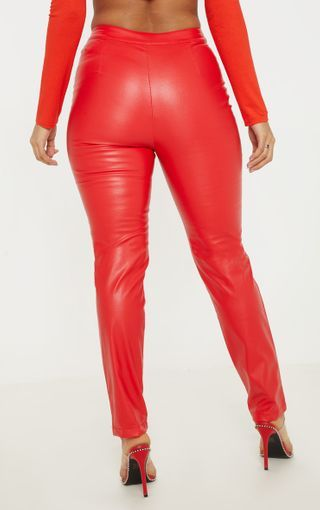 e0fc0481132f5 Red Faux Leather Zip Front Panel Detail Straight Leg Pants in 2019 ...