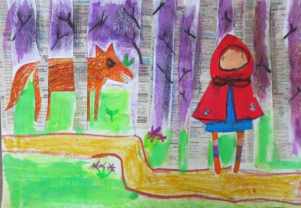 Francesca's (age 7) collage of Little Red Riding Hood.