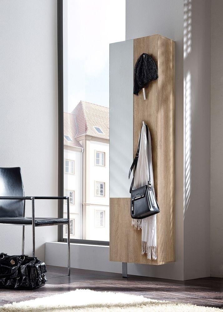 Schuhschrank Woody Eiche Sägerau 6243. Buy now at https://www.moebel-wohnbar.de/schuhschrank-woody-mit-spiegel-garderobenpaneel-eiche-saegerau-6243