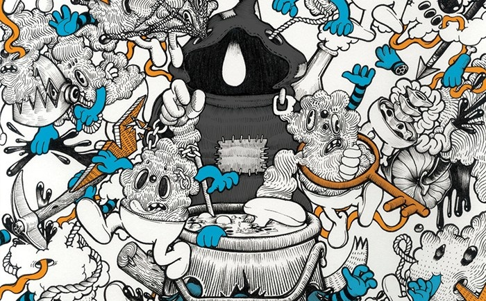 Illustrated by Obam.  Title: Gagamel Tools: Pen drawing