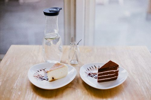 pieces of cake and water