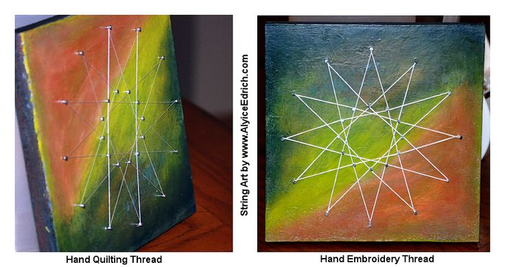 """Alyice Edrich - circa 2015 - String Art Star - #18 x 3/4 Wire nails, White embroidery thread, Masonite board, acrylic paint. (My first attempt at string art... Tried hand quilting thread and felt it didn't """"pop"""" enough so I took it apart and used 6 ply embroidery thread... so much better!) #StringArt #AbstractArt #reclaimedwood #woodcanvas"""