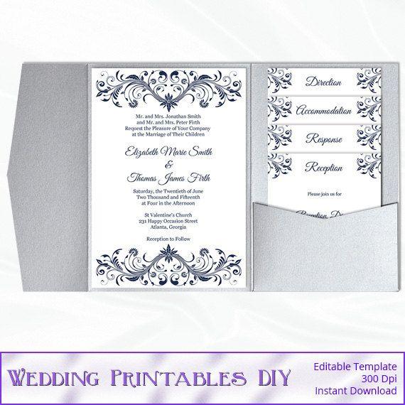 navy blue diy pocket fold wedding invitation set templates come as