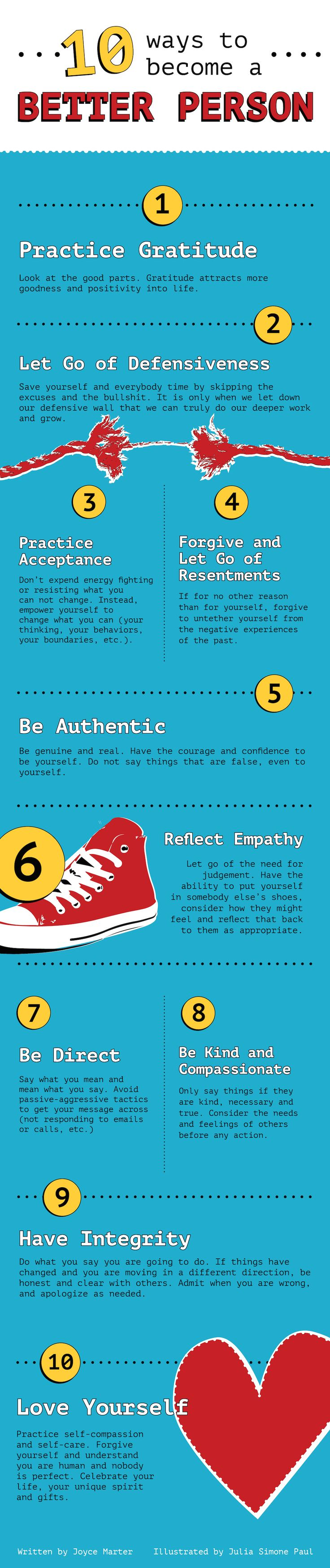 How to be A Better Person #Infograph http://www.huffingtonpost.com/joyce-marter-/10-ways-to-evolve-and-be-_b_4495114.html