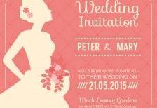 ウェディングドレス姿の花嫁の横顔をデザインした結婚式のベクターイラストテンプレート