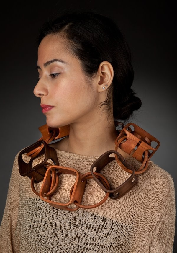 Necklace | Gustav Reyes. Square knot circle'.  Wood.