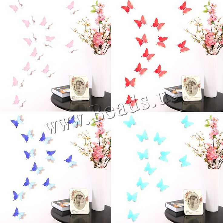 PVC Plastic Wall Stickers, Butterfly, adhesive