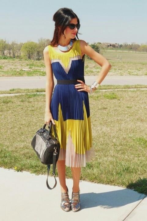 Mustard Yellow Amp Royal Blue Dress Cute Dresses