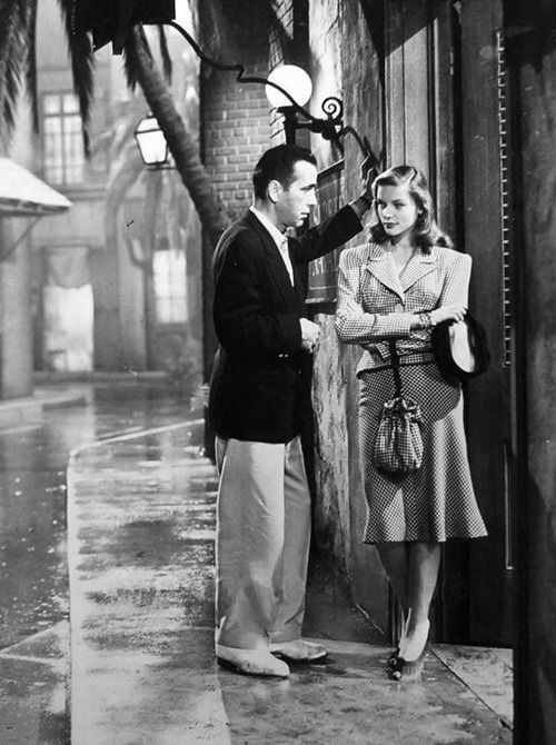 Bogie and Bacall falling in love on screen in the 1944 film To Have and Have Not.