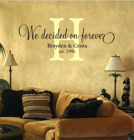 We Decided On Forever, Personalized, Vinyl Wall Decal, Lettering, Newlywed, Home Decor, Monogram, Sticker, Removable