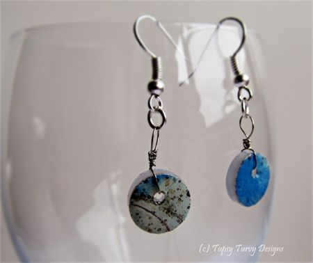 Unique blue and grey mixed media earrings on buttons - with earring hooks www.madeit.com.au/TupsyTurvy