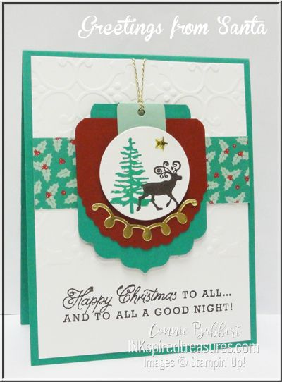 Stampin' Up! Cheerful Tags Framelit Dies and Greetings from Santa stamp set are both ON SALE!  See details on my website, www.inkspiredtreasures.com, #stampinup, #inkspiredtreasures, #conniebabbert