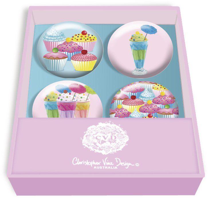 Christopher Vine Design Cupcakes & Sundaes Magnets