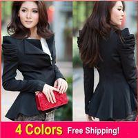 2014 senhoras encaixar mulheres paletós blazers um botão blazer estilo rabo de andorinha jaqueta de sopro smoking SML XL XXL XXXL 4 cores