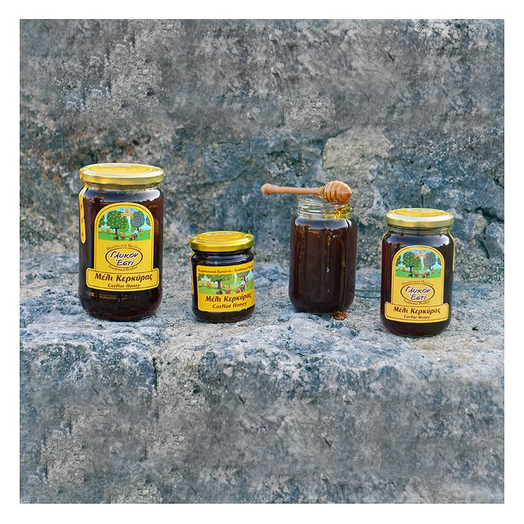 Honey from Corfu, made by thyme flowers, myrtle, rosemary, heather and wild mint.  Μέλι Κέρκυρας από άνθη θυμαριού, μυρτιάς, δεντρολίβανου, ρείκι και άγριας μέντας.