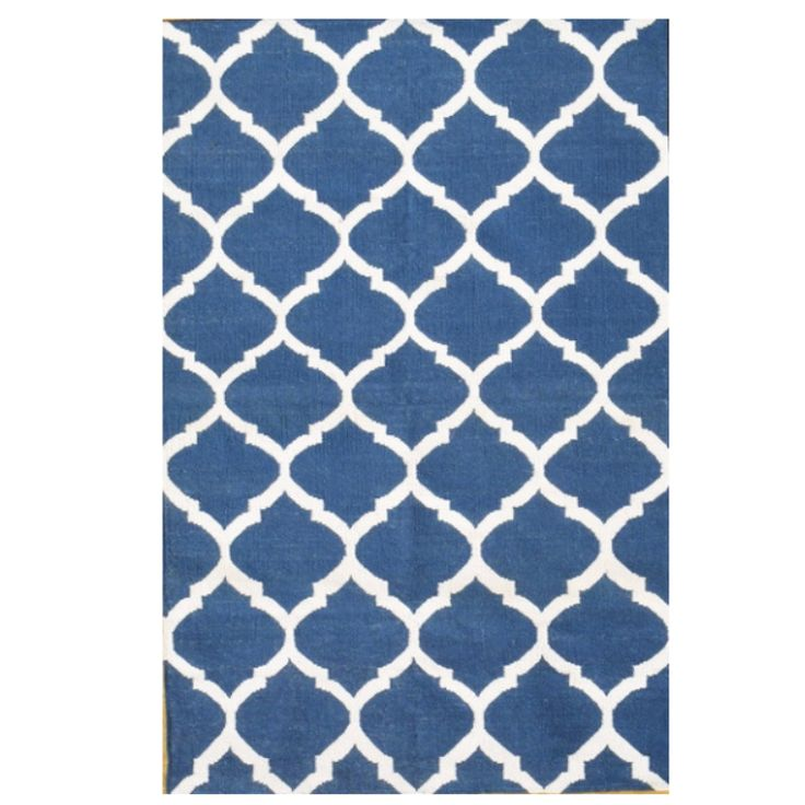 Cotton Dhurrie Moroccan Style Natura Blue
