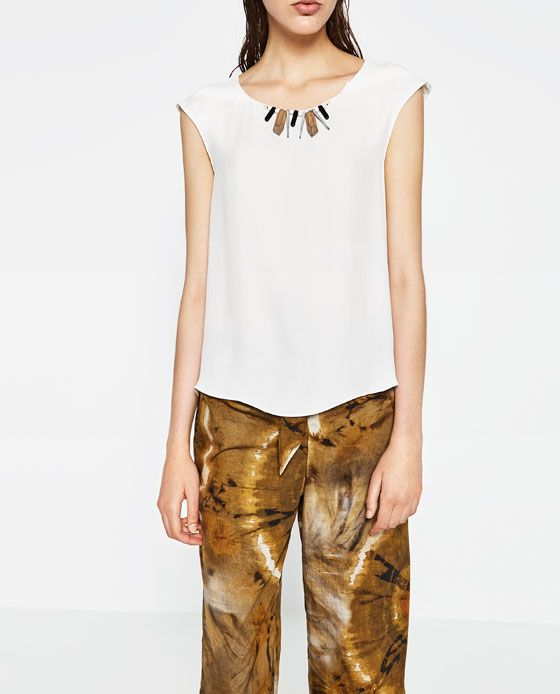 ZARA - WOMAN - TOP WITH TRIBAL NECKLACE