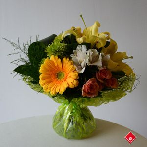 Bubbly Bouquet featuring Oriental lily, Alstromeria and yellow Gerbera