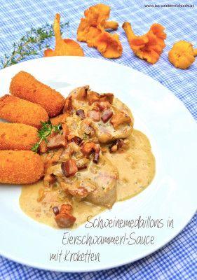 Selbstgemachte Kroketten und Schweinemedaillons in Eierschwammerl-Sauce - herrlich :)