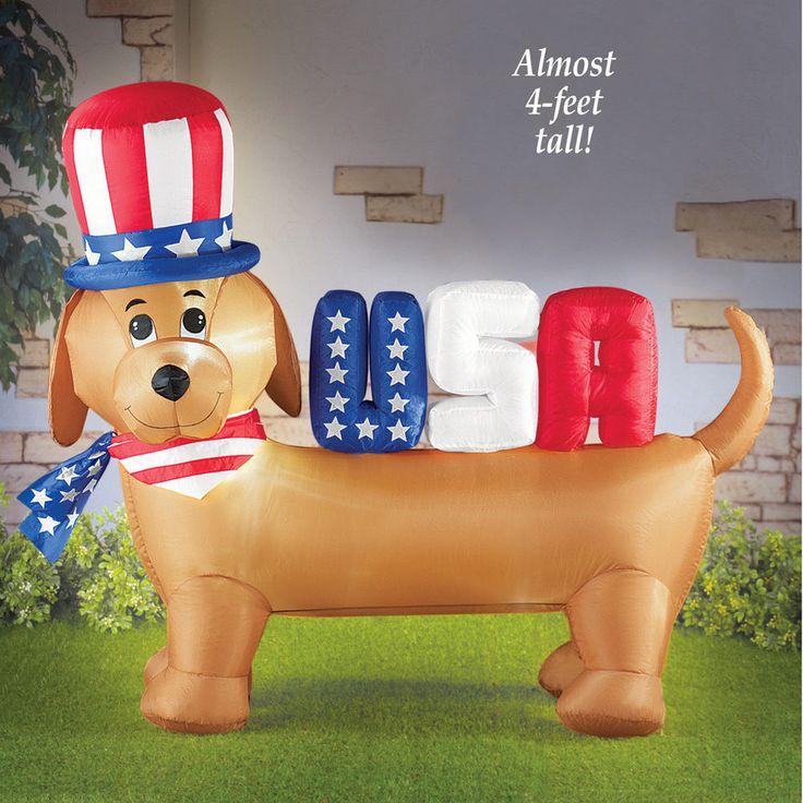 Dachshund Dog Inflatable USA Patriotic 4th Of July Garden Yard Outside Decor #winstoninc